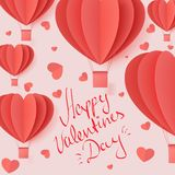 Happy valentines day typography vector illustration design with paper cut red heart shape origami made hot air balloons flying in vector illustration
