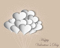 Hearts on Valentine Day with butterflies Stock Photography