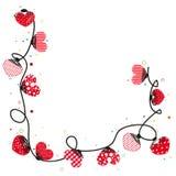 Hearts valentine day doodle hearts Border design vector background Stock Photos