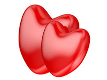Hearts. Valentine's Day celebration concept: red glossy shiny heart shape isolated on white background Stock Image
