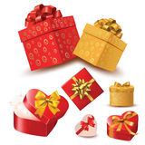 Hearts valentine's day coming out from gift box set Royalty Free Stock Photo