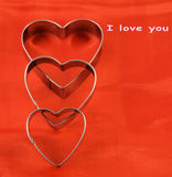 Hearts on Valentine`s Day. Declaration on the day of the lovers Stock Photography