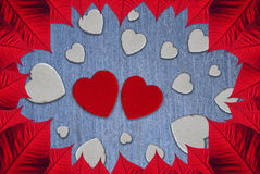 Hearts Valentine's day. Leaves and hearts for Valentine day Royalty Free Stock Photo