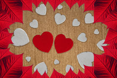 Hearts Valentine's day. Leaves and hearts for Valentine day Royalty Free Stock Image