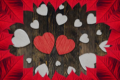 Hearts Valentine's day. Leaves and hearts for Valentine day Stock Photography