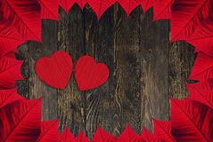 Hearts Valentine's day. Leaves and hearts for Valentine day Stock Photo