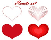 Hearts Valentine`s Day set on transparent background. Royalty Free Stock Photos