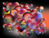 Hearts and Valentine's day. Small and huge colorful hearts and stars on dark background for love supports Royalty Free Stock Photos