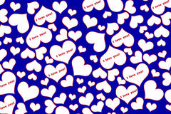 Hearts on Valentine`s day. Text I love you on a blue background ,white with red outline, red text Stock Photo