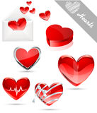 Hearts valentine's icons Stock Images