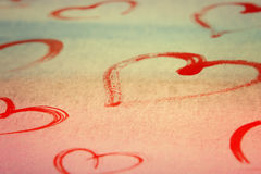 Hearts valentine watercolor rainbow background Royalty Free Stock Image