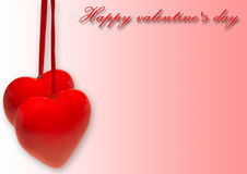 Hearts, Valentines day card. Red hearts on Valentine's Day card Royalty Free Stock Photos