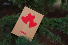 Hearts and Valentines day decoration in park.Outdoor compositions. Royalty Free Stock Photo