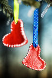 Hearts Valentines Day hanging on the winter tree Stock Photography