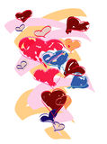 Hearts in various colors. Vector illustration with many different color hearts Stock Images