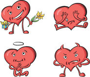 Hearts with various emotions. Vector illustration of hearts with various emotions. Easy-edit layered vector EPS10 file scalable to any size without quality loss Royalty Free Stock Image