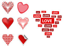 Hearts. Various styles of red heart symbol Stock Image