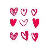 Hearts vector art red icons pattern for Valentine day Stock Photo