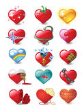 Hearts 3. Vector illustrations of heart in different feelings and moods Royalty Free Stock Photography