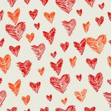 Hearts. Vector seamless pattern with crimson and scarlet hearts Royalty Free Stock Photos