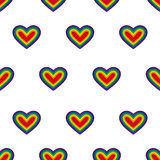 Hearts. Vector. Seamless pattern. Rainbow hearts on white background. Repeating wallpaper. Stock Image