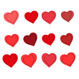 Hearts, vector set. Set of red hearts, drawing, vector illustration Stock Photography