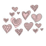 hearts vector sketch Royalty Free Stock Photography
