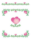Hearts-vines borders Stock Image