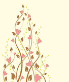 Hearts. Vintage floral background and hearts Royalty Free Stock Image