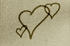 Hearts on vintage green paper background Royalty Free Stock Photo