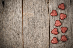 Hearts on Vintage Wood Background royalty free stock photography
