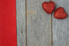 Hearts on Vintage Wood Background Royalty Free Stock Images