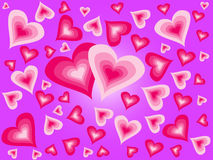 Hearts on a violet background. Heart scattered on a violet background. Hearts background Royalty Free Stock Image