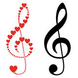 Hearts violin clef Royalty Free Stock Image