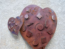 Hearts on a wall Stock Photography