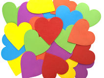Hearts wallpaper. Multicolored hearts wallpaper background with white borders Royalty Free Stock Photos