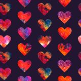 Hearts abstract grunge colorful splashes. Hearts with watercolor colorful splashes seamless pattern design on dark blue background vector illustration