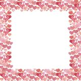 Hearts watercolor frame. Watercolor Valentine`s Day background. stock image