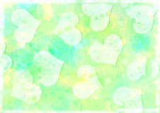 Hearts Watercolour Cyan and Lemon Textured Background. Watercolour background in cyan and lemon with water drops and splashes adding texture. White grungy royalty free illustration