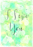 Hearts Watercolour I Love You Card. Watercolour greeting card in cyan and lemon with a textured heart background and the inscription `I Love You.` Tiny hearts Stock Photo