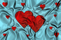 Hearts on a waving background Stock Images