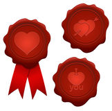 Hearts wax seals Royalty Free Stock Photos