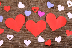 Hearts on weathered wood surface - Series 2 Stock Images