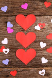 Hearts on weathered wood surface - Series 3 Royalty Free Stock Image