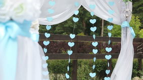 Hearts on a wedding arch stock video