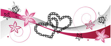 Hearts, wedding. Hearts with pink flowers, wedding decoration stock illustration