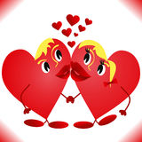 Hearts which are kissed.  Royalty Free Stock Photo