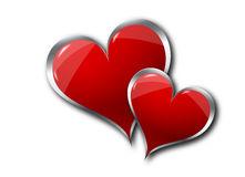 Hearts on white background. Graphic 3D illustration of two hearts on a white background Royalty Free Stock Images