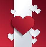 Hearts on White Banner Against Red Background Stock Image