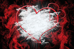 Hearts and White Fluffy Clouds With Red Smoke. Valentine`s Day C Stock Photos